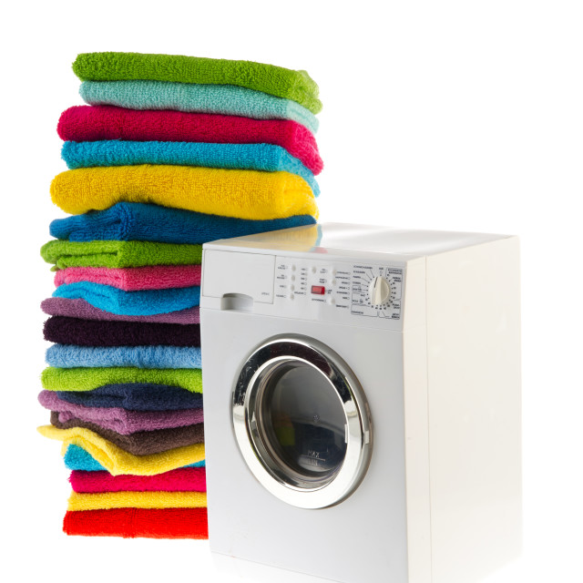 """Laundromat with laundry"" stock image"