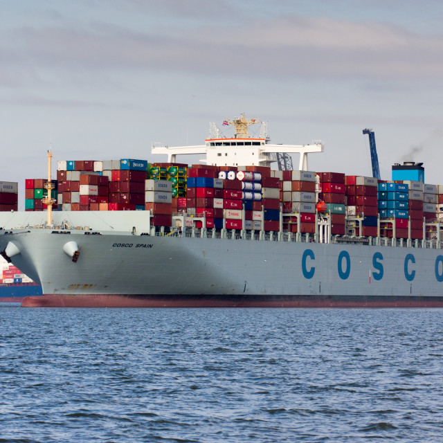 """Container ship Cosco Spain departing Felixstowe"" stock image"