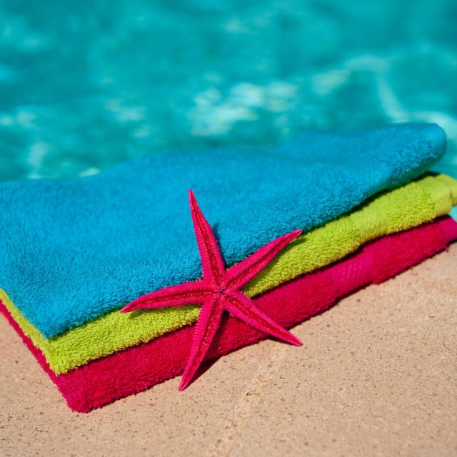 """Towels at the swimmingpool"" stock image"