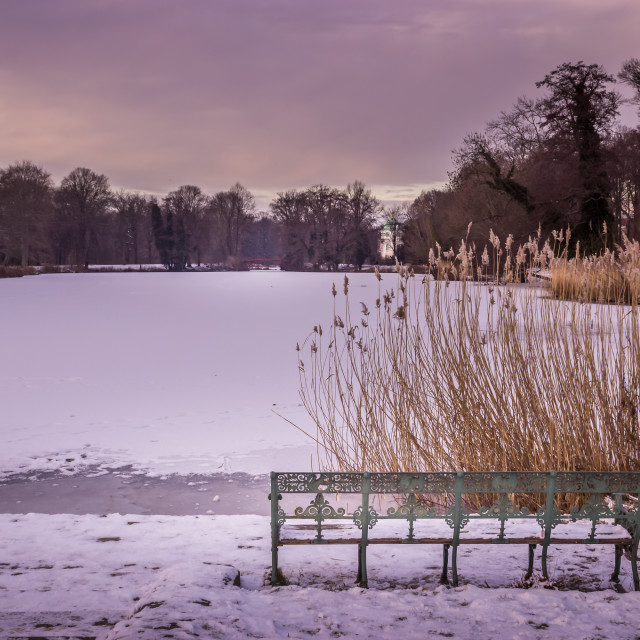 """Bench at the frozen Lake"" stock image"