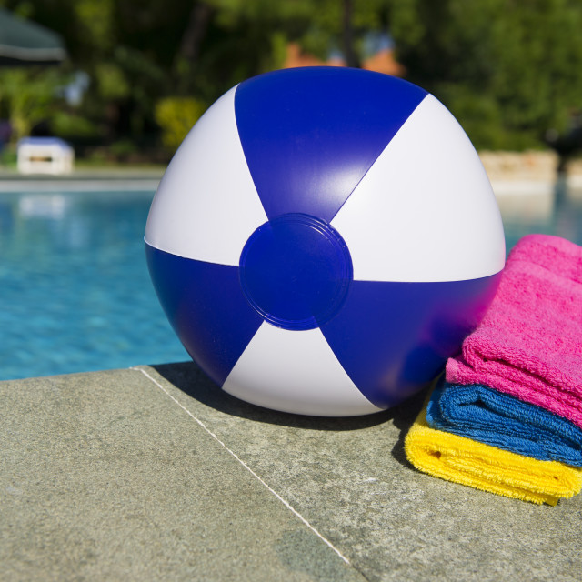 """Beach ball and towels"" stock image"