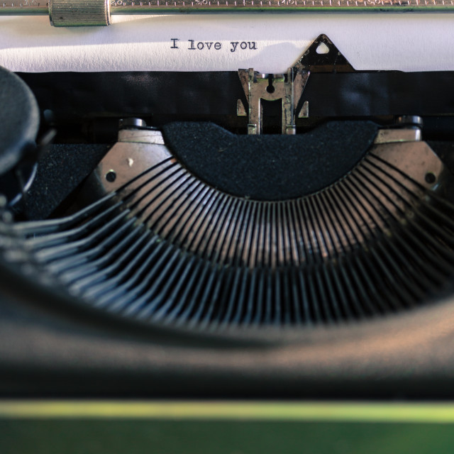"""""""Old typewriter with words of love"""" stock image"""