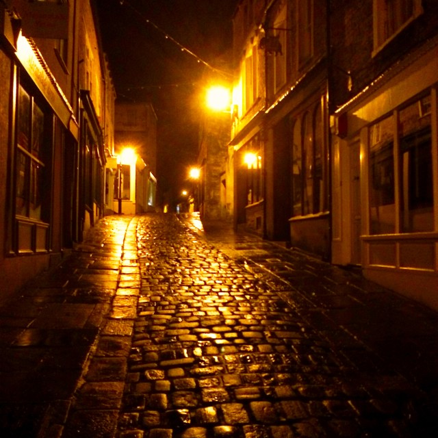 """Catherine Hill, Frome at night."" stock image"