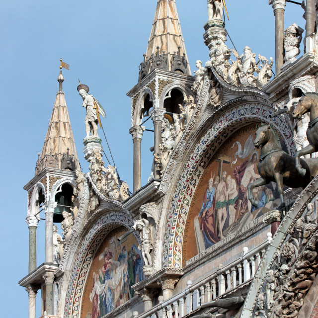 """""""Detail of the facade of St. Mark's church in Venice"""" stock image"""