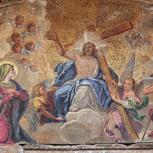 """""""Detail of a mosaic at the entrance of St. Mark's church in Venice"""" stock image"""