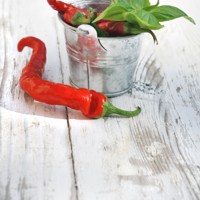 """red peppers and basil"" stock image"