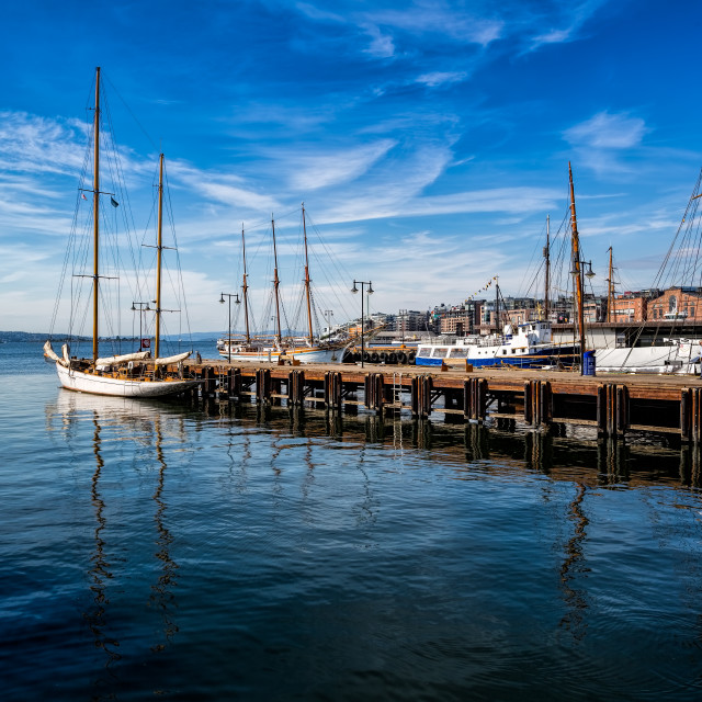 """Oslo Waterfront and Sailing Boat Norway"" stock image"