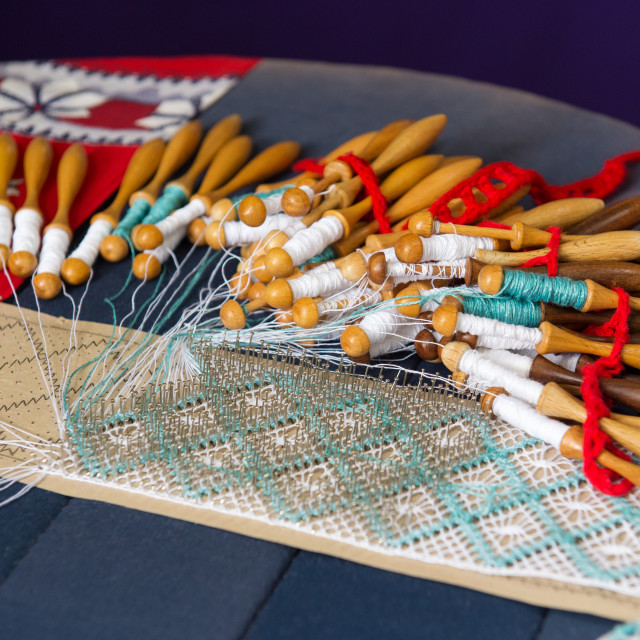 """Making bobbin lace"" stock image"