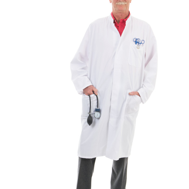 """Physician standing on white background"" stock image"