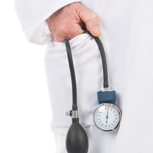 """physician with blood pressure meter"" stock image"
