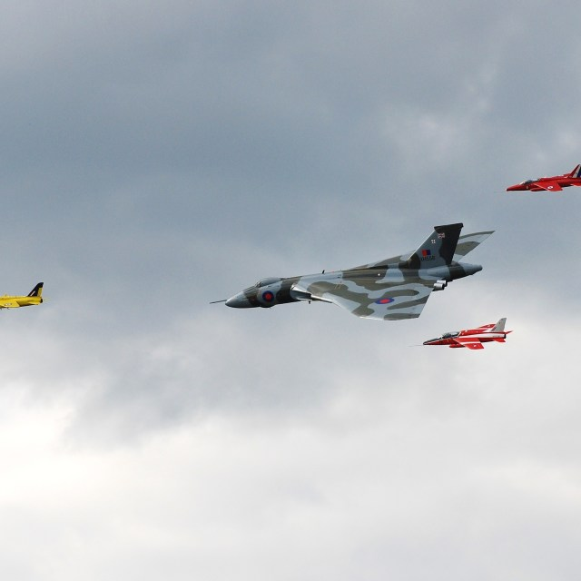"""""""Avro Vulcan flanked by Gnats"""" stock image"""
