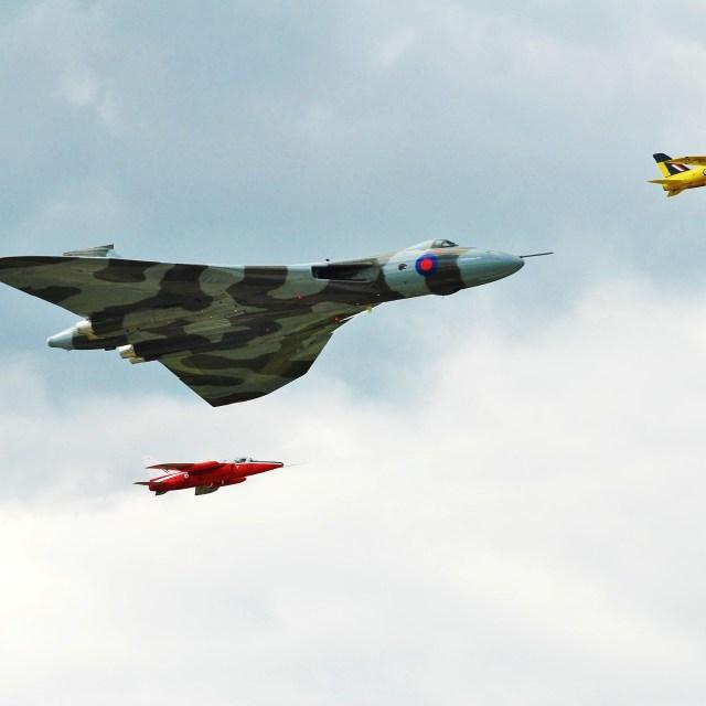 """Avro Vulcan and Gnat escort"" stock image"