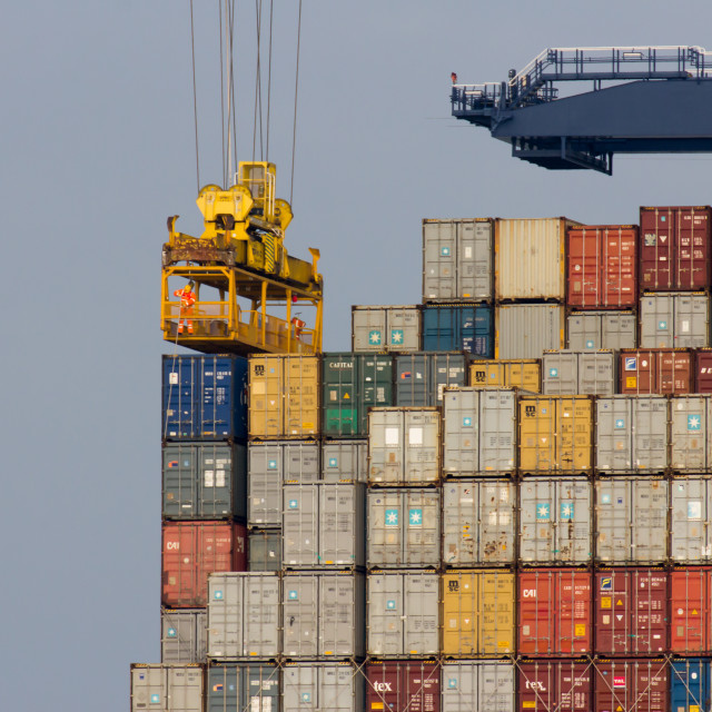 """Containership, Felixstowe Port"" stock image"