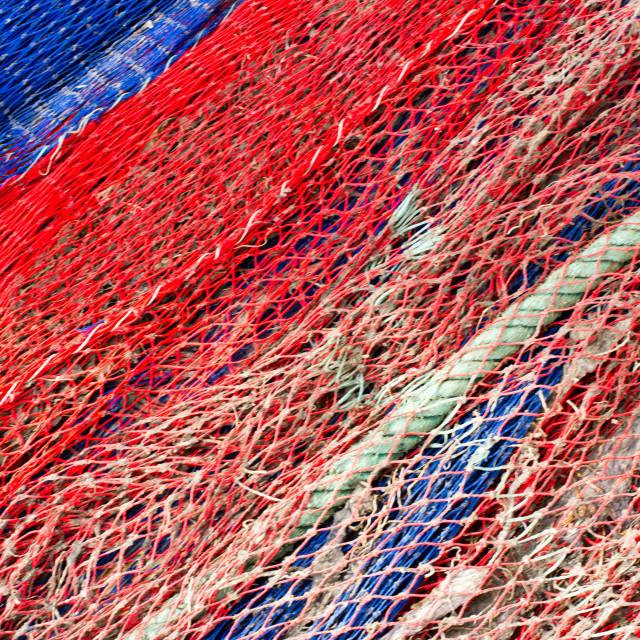"""Fishing net, Fuengirola, Spain"" stock image"