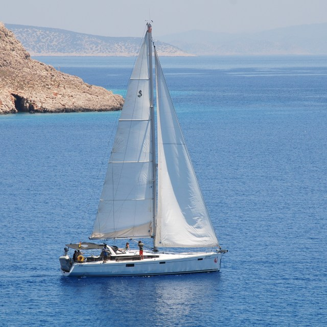"""Sailing in Greece"" stock image"