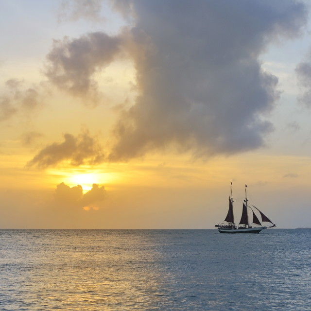 """sailboat and a beautiful sunset"" stock image"