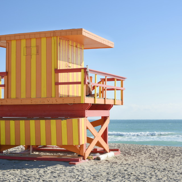 """""""Lifeguard house on a clear sunny day"""" stock image"""