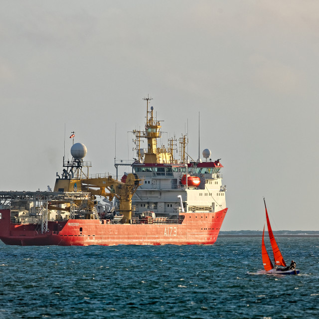 """HMS Protector in Plymouth Sound"" stock image"