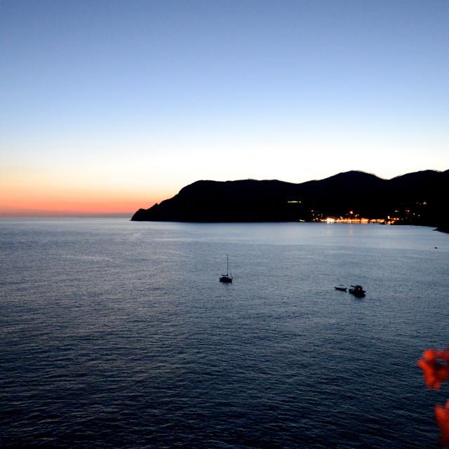 """""""Sunset in Cinque Terre Italian riviera"""" stock image"""