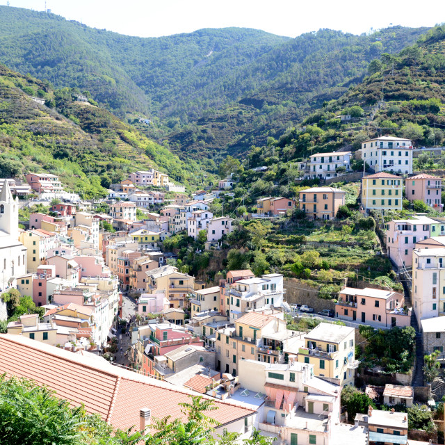 """Looking up to Riomaggiore, small Italian riviera town"" stock image"