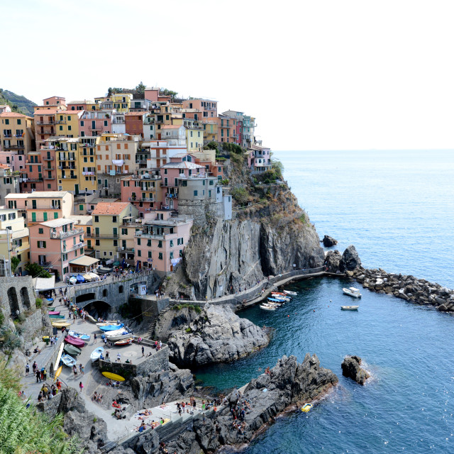 """Manarola meets the Mediterranean Sea"" stock image"