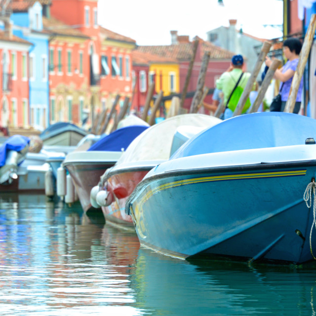 """Colorful boats on Venetian island of Burano"" stock image"