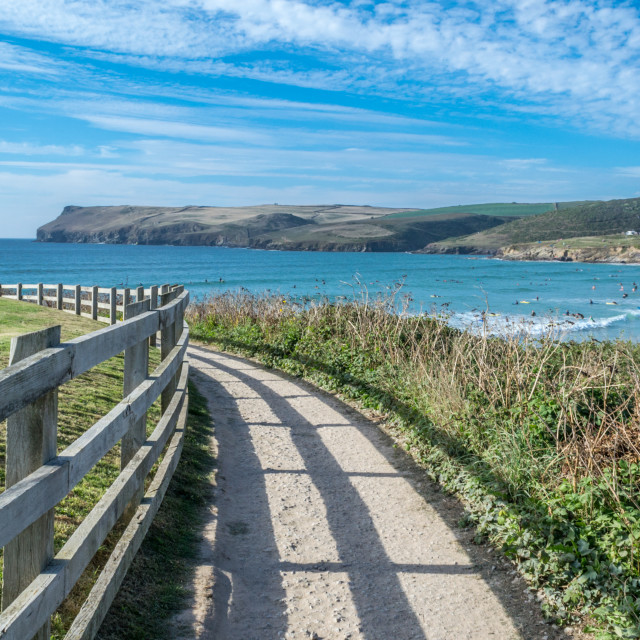 """""""A view over Hayle Bay, Polzeath, North Cornwall."""" stock image"""