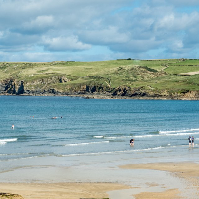 """""""View across the bay at Polzeath"""" stock image"""