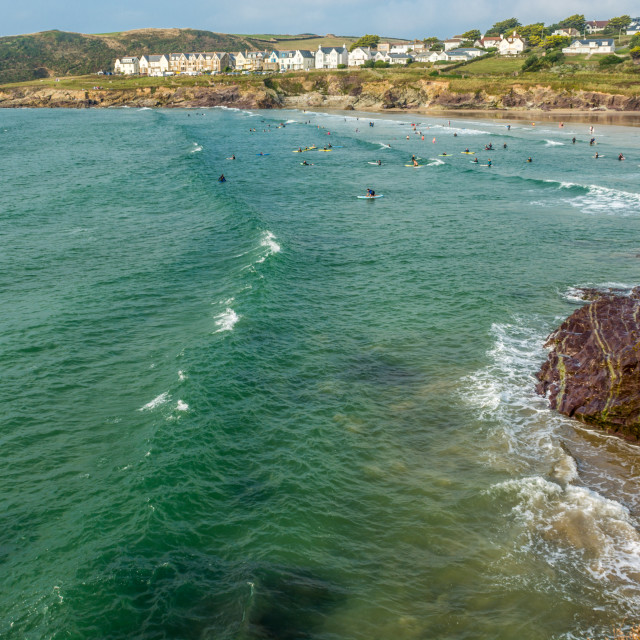 """""""Waves approach the beach at Polzeath"""" stock image"""