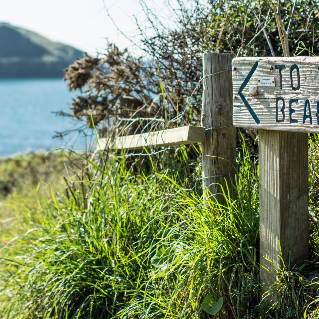 """""""This way to the beach !"""" stock image"""