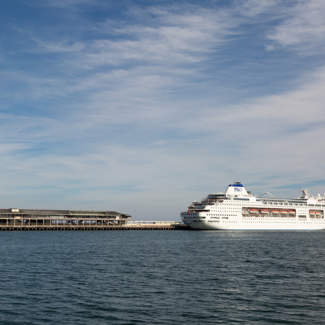 """Pacific Pearl stopping over in Melbourne, Australia"" stock image"