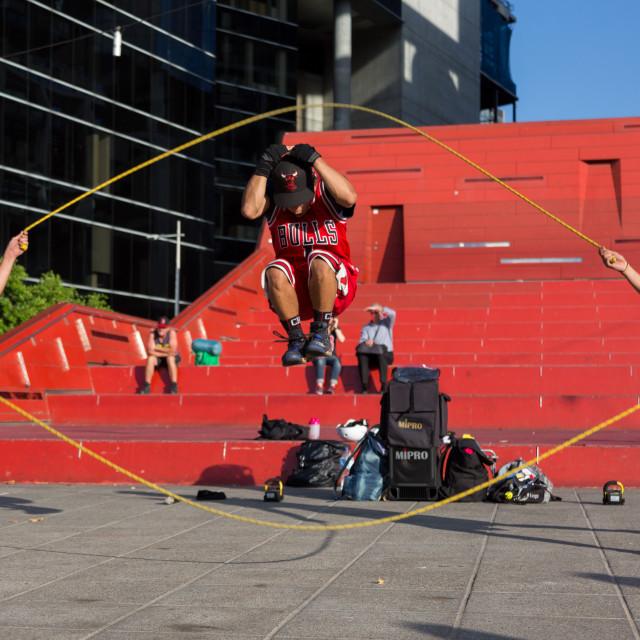 """2016 Australian Open - Melbourne Street Performers"" stock image"