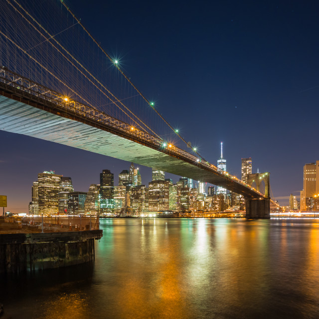 """Brooklyn Bridge and Manhattan Skyline"" stock image"