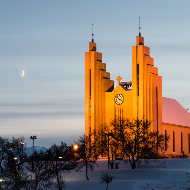 """Akureyrarkirkja. (The Church of Akureyri)"" stock image"