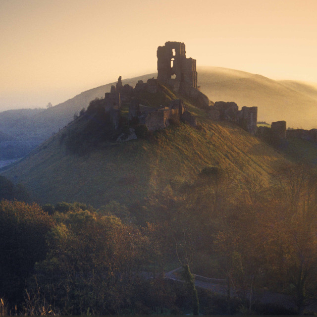 """""""Corfe Castle Dawn"""" stock image"""