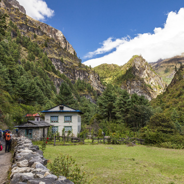"""Trekker's on a mountain trail"" stock image"