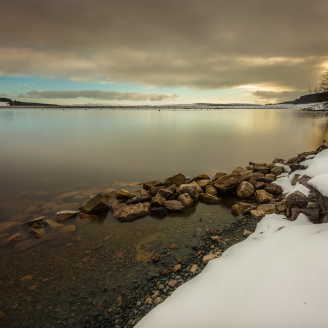 """Llyn Brenig in Winter"" stock image"