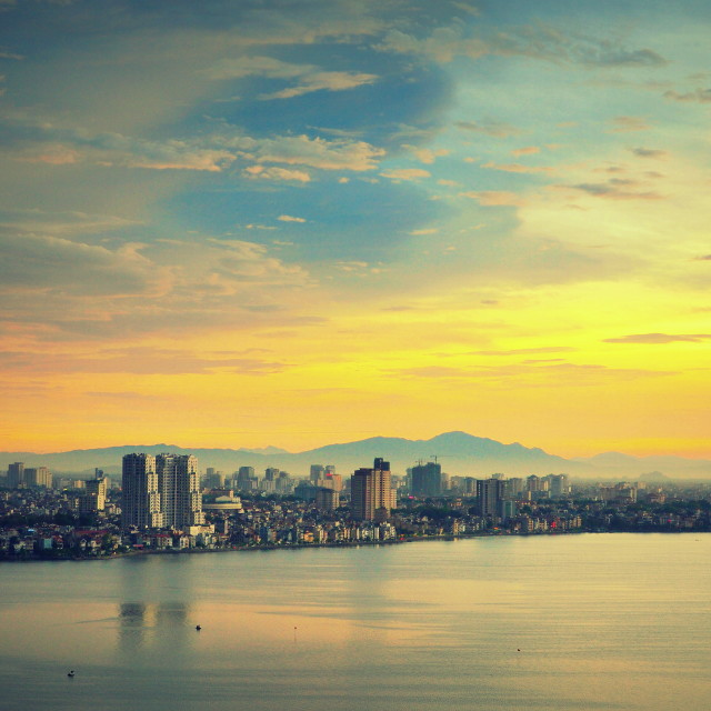 """""""City by the Lake"""" stock image"""