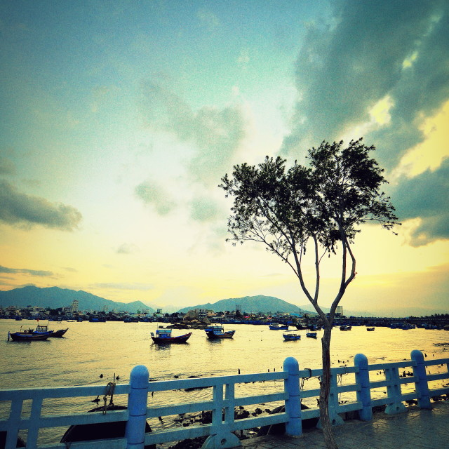 """""""By the riverside of Nha Trang"""" stock image"""