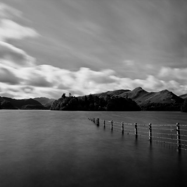 """Derwentwater - Keswick - Lake District - Black and White"" stock image"