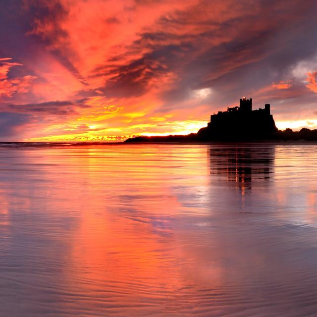 """""""Bamburgh Castle Sunrise - Northumberland, UK"""" stock image"""
