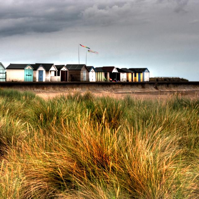 """Chapel St Leonards - Beach Huts"" stock image"