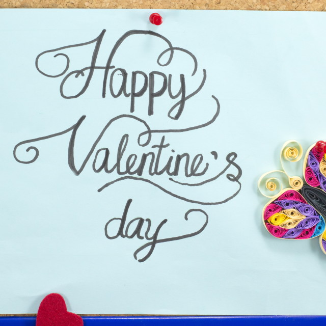 """Blue card with happy valentine's day inscription"" stock image"