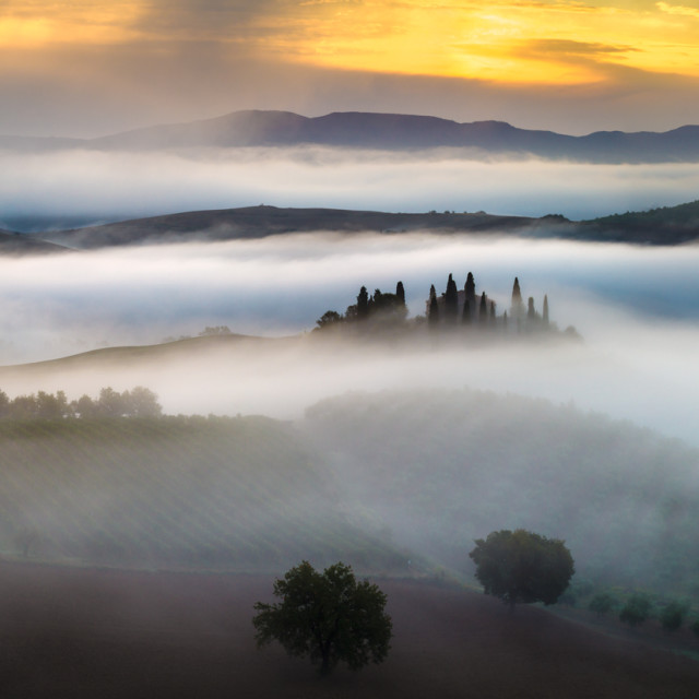 """Misty morning in Tuscany"" stock image"