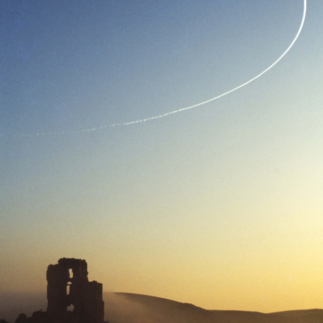 """Morning Flight over Corfe Castle"" stock image"