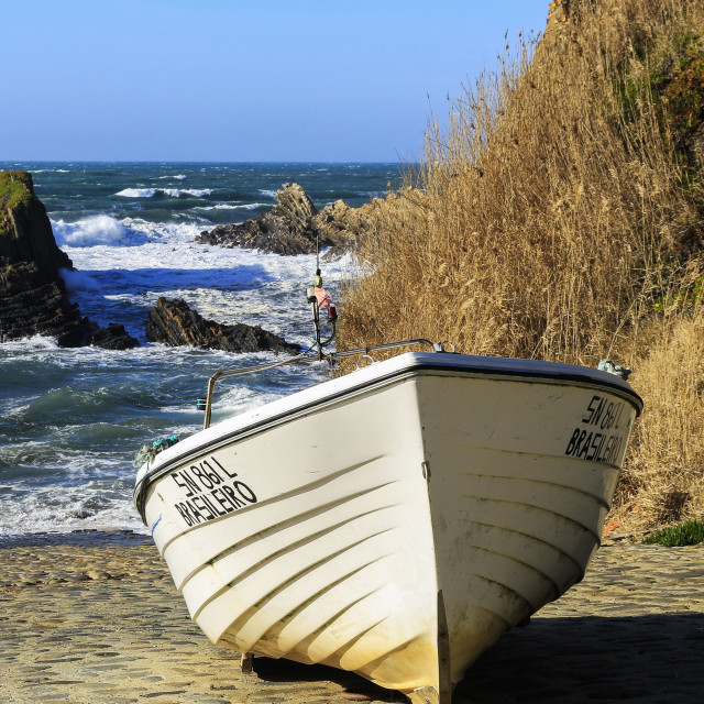 """""""LONELY BOAT"""" stock image"""