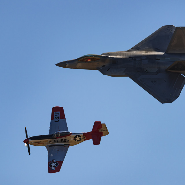 """F22 and P51 mustang"" stock image"