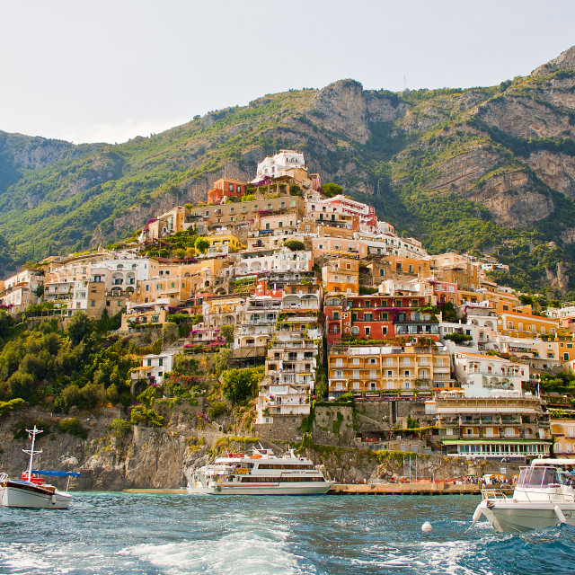 """Positano from the sea"" stock image"
