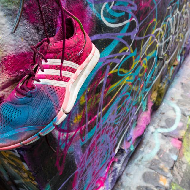 """Shoe Art in Melbourne's Lanways"" stock image"