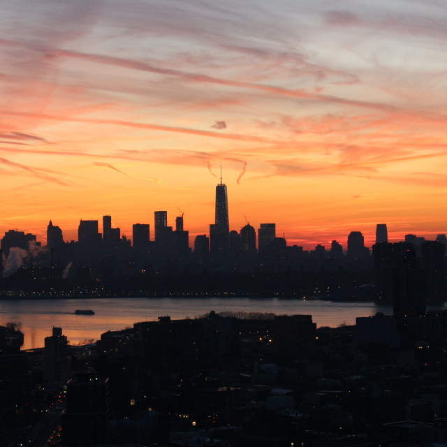 """""""Freedom Tower in Manhattan at Sunset"""" stock image"""
